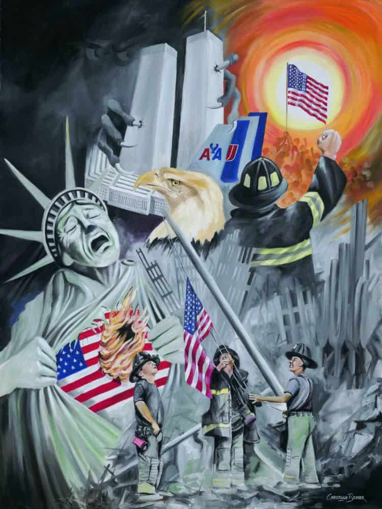 911 twin towers painting