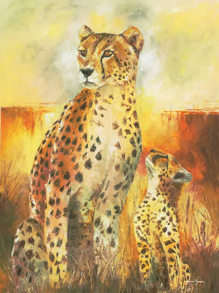cheetah and the cub painting