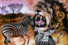 Lion hunt Zebra painting