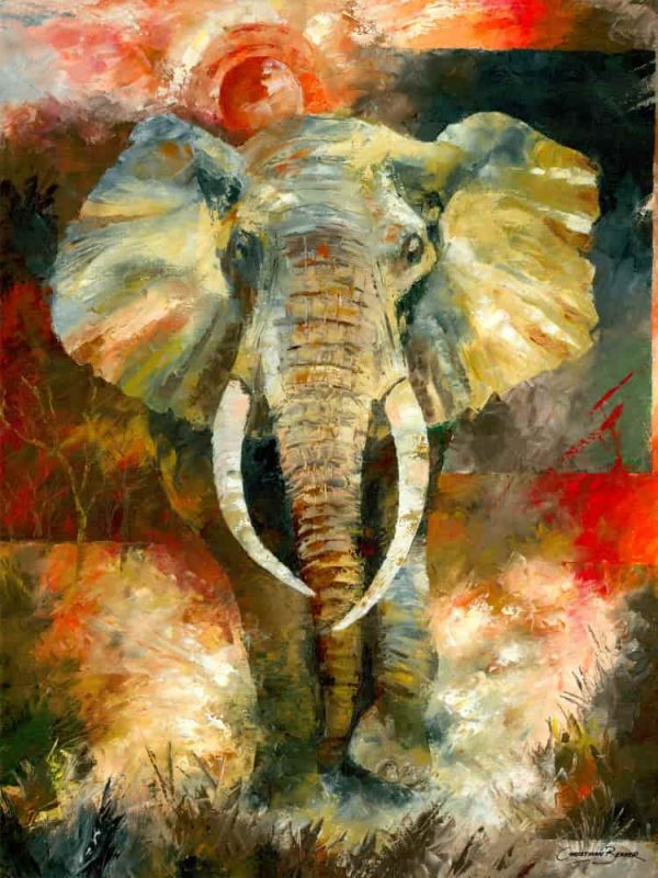 Charging African Elephant Painting