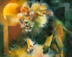 charging lion painting attack